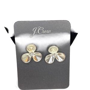 J. Crew Diamond Studded Flower Pedal Earrings